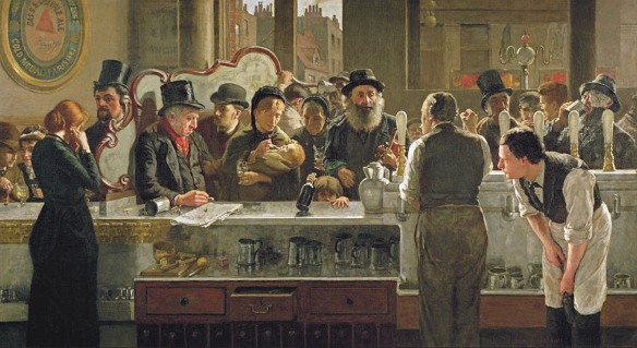 "John Henry Henshall's painting ""In the Pub"" of 1882, appears to show only pewter pots on the shelves and in the sinks, no glass beer mugs"
