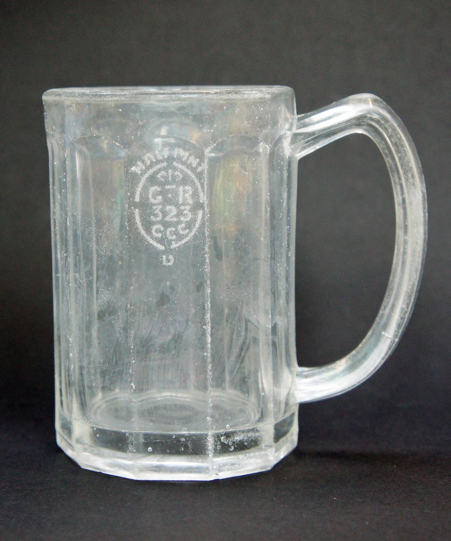 3543f4d9e9e ... Slightly glass-sick 10-sided half-pint glass stamped  GR 323