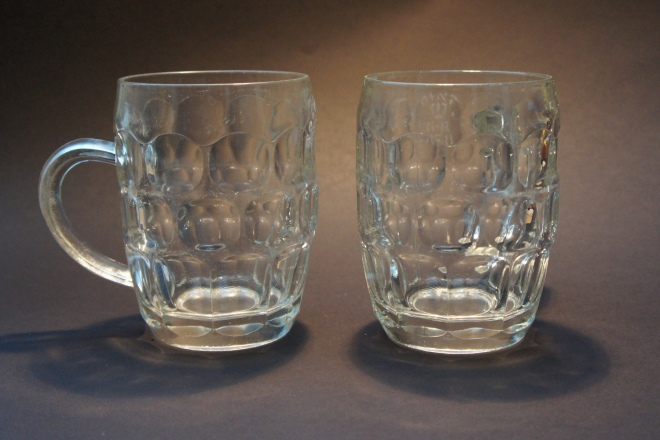 Two early one-pint dimples stamped 'GR 478', for St Helens, made by Ravenhead probably in the 1940s, showing how little the design has altered since the start