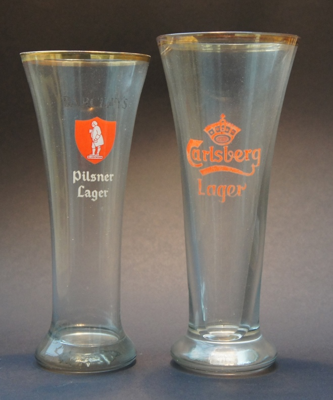 Two classic tulip lager glasses, one from Carlsberg of the sort that John Mills lusted for in the film Ice Cold in Alex from 1958 ()although in the book the film was based on, the beer in Alexandria was Rheingold from New York …) and the other from Barclay Perkins, once one of London's biggest lager brewers