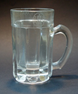 Thick, ribbed Victorian half-pint glass beer mug with a pronounced punt, stamped 324, for Gateshead, where there were several pressed glass manufacturers
