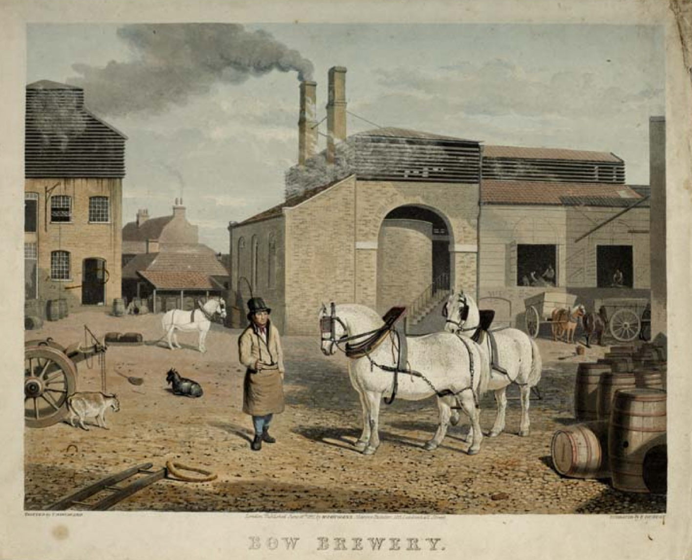 The Bow Brewery in 1827: picture from the Mueum of London
