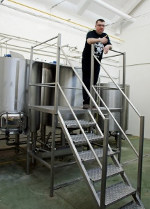 Michał Gref in the brewhouse at Browar Profesja